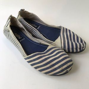 Mad Love Blue and White Striped Canvas Flats